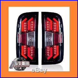 2014-2015 Chevy Silverado LED Tail Lights Gloss Black/Clear Winjet WJ20-0383-16