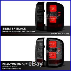 2014-2015 Chevy Silverado SINISTER BLACK LED Neon Tube Smoke Tail Lights Lamps