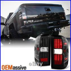 2014-2016 Silverado 1500 2015-16 2500 3500 Black LED Tail Lights Lamp Left+Right