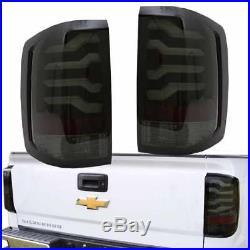 2014-2017 Chevy Silverado 1500 2500HD Sierra 3500HD LED Taillights Smoke Black
