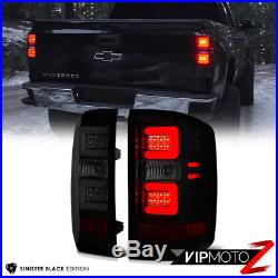 2014-2017 Chevy Silverado SINISTER BLACK LED Neon Tube Smoke Tail Lights Lamps