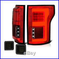 2015-2018 Ford F150 withBLIS Red Clear LED Bar Tail Light+Smoke License Plate Lamp
