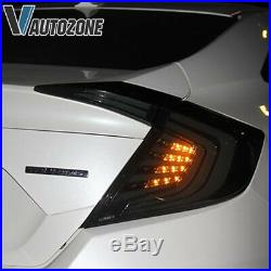 2016 2017 2018 2019 For Honda Civic Sedan Tail Light Smoked Rear Lamp LED Pair