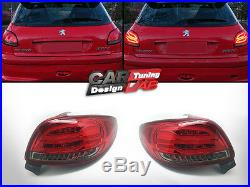 (2) Direct-Fit Red Lens Fully LED Tail Lights RearlLight For 1998-up Peugeot 206