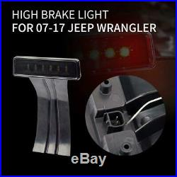 2 Pcs LED Rear Tail Lights + Third High Brake Light for 07-18 Jeep Wrangler JK