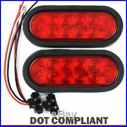 2 Red 6 Oval Trailer Lights 10 LED Stop Turn Tail Truck Sealed w Grommet Plug