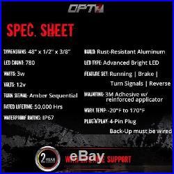 48 TRIPLE LED Tailgate Bar Sequential Turn Signal Amber Rigid Brake Light Rear