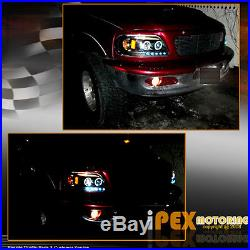 4PIECE New 1997-2003 Ford F150 Halo LED Projector Black Head Light+Tail Lamp