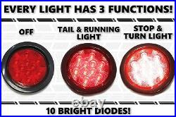 4 Round (8) Red 10 LED Stop Turn Tail Light Flush Mount Truck Trailer