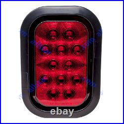 5x3 4x Red 2xWhite Rectangle 12 LED Stop/Turn/Tail Truck Light Grommet Wire Kit