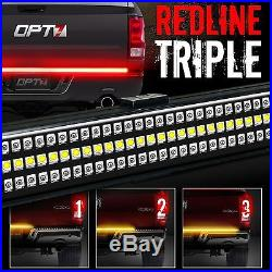 60 TRIPLE LED Tailgate Bar Sequential Turn Signal Amber Rigid Brake Light Rear