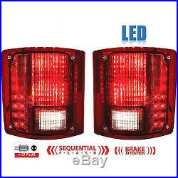 73-91 Chevy GMC Truck LED Sequential Tail Light Lens & Gaskets Pair with Flasher