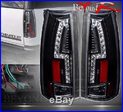 88-98 Chevy C/k Truck Direct Replacement Led Brake Stop Tail Lights Lamps Black