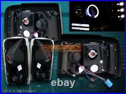 92-96 Ford Bronco F150 Black Halo Led Projector Headlights + Tail Lights Black