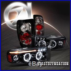 94-01 Dodge Ram 1500 Glossy Black Halo LED Projector Headlights+Smoke Tail Lamps