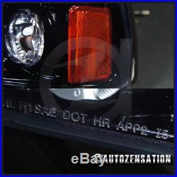 Glossy Black 94-01 Ram Halo LED Smoke Projector Headlights+Black Rear Tail Lamps