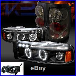 94-01 Dodge Ram Black Halo LED Projector Headlights+Smoke Tail Brake Lamps