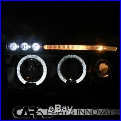 94-01 Ram 1500 2500 3500 Halo LED Black Projector Headlights+Smoke Tail Lamps