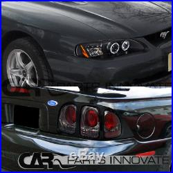 94-98 Ford Mustang GT Cobra Black LED Halo Projector Headlights+Smoke Tail Lamps