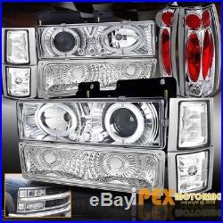 94-98 GMC Sierra Yukon 10PCS Halo Projector LED Headlights+Signals+Tail Light