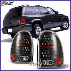 96-00 Dodge Caravan 98-03 Durango LED Tail Lights Glossy Black Rear Lamps PAIR