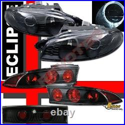 97 98 99 Mitsubishi Eclipse Halo Projector Headlights G2 & Tail Lights Black