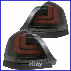 98-11 Ford Crown Victoria Black Smoke Euro LED Taillights with Red LED Light Tube