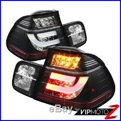 99-01 BMW E46 3-Series 4DR Tail Light Black LED STRIP Signal Brake Pair LH RH