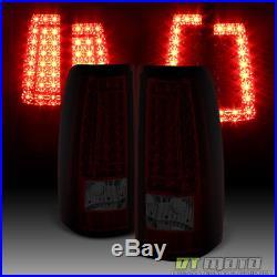 99-02 Silverado 99-06 Sierra Red Smoked C Shape LED Tail Lights Brake Lamps