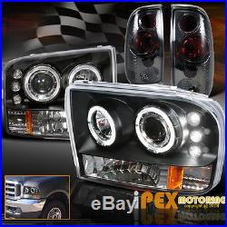 99-04 Ford F250 Super-Duty Halo Projector LED Black Headlights+Smoke Tail Light