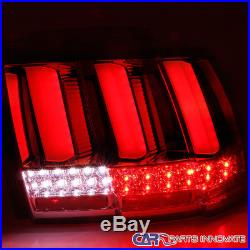 99-04 Ford Mustang Red Smoke Lens LED Sequential Turn Signal Tail Brake Lights