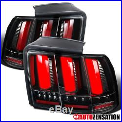 99-04 Ford Mustang Slick Black Clear Lens Sequential Signal LED Tail Lights