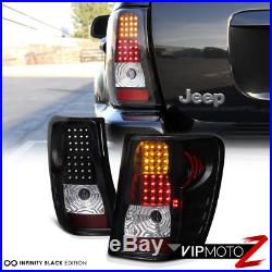 99-04 Jeep Grand Cherokee Black LED Tail Lamps Turn Signal+Brake Lights Assembly