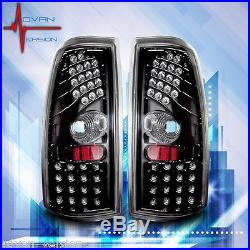 99-06 Chevy Silverado 99-03 GMC Sierra Tail Lights Glossy Black LED Lamps PAIR