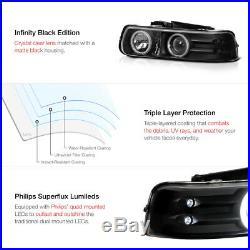 BEST 99-02 Silverado 00-06 Suburban Tahoe Black CCFL Halo LED Bumper Headlight