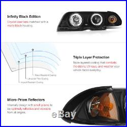 BMW 99-01 E46 4DR Sedan Black Halo Projector Amber Headlight+LED Tail Light L+R