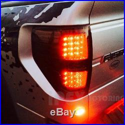 BRIGHTEST LED DRL 09-14 Ford F150 Projector Black Head Lights With LED Tail Lamp