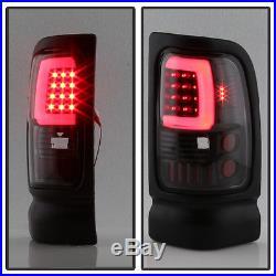 Black 1994-2001 Dodge Ram 1500 2500 3500 LED Tube Tail Lights Lamps Left+Right