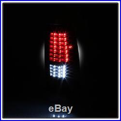 Black 1999-2006 GMC Sierra 1999-2002 Chevy Silverado Full LED Tail Lights Lamps
