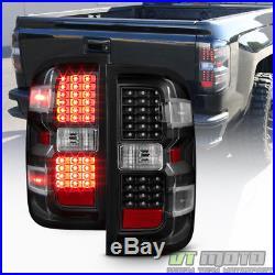 Black 2014-2017 Chevy Silverado 1500 2500 HD 3500 HD LED Tail Lights Brake Lamps