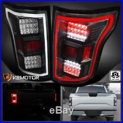 Black 2015-2017 Ford F150 Full LED Rear Brake Lamps Tail Lights Left+Right