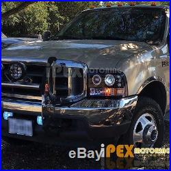 Black 99-04 Ford F250 Super-Duty Halo LED Projector Head Light+Smoke Tail Lamps