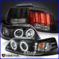 Black 99-04 Mustang Dual Halo Projector Headlights+Sequential LED Tail Lights