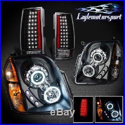 Black Ccfl Halo Led Projector Headlights 07-13 Yukon/denali +blk Tail Lights