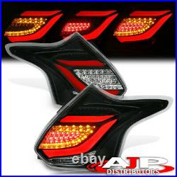 Black Clear Red LED Tube Tail Lights Lamps Pair For 2012-2014 Ford Focus Hatch
