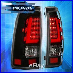 Black Full LED White Tube Tail Light Lamps For 99-06 Chevy Silverado GMC Sierra