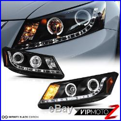 Black Halo Projector Headlight+LED Brake Tail Light 08-10 Honda Accord I4/V6 4DR