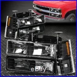 Black Headlight+amber Corner+bumper+smoke Led Tail Light For 94-02 Chevy C10 C/k