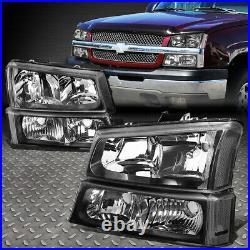 Black Headlight+clear Bumper+3d Led Bar Tail Light Set For 03-07 Chevy Silverado