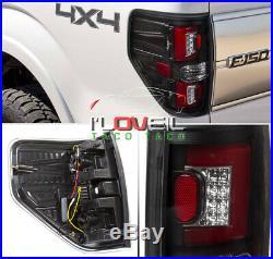 Black Housing Red Tube LED Tail Lights Brake Lamps Pair For 2009-2014 Ford F-150